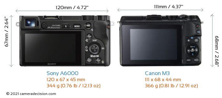 Sony A6000 vs Canon M3 Camera Size Comparison - Back View