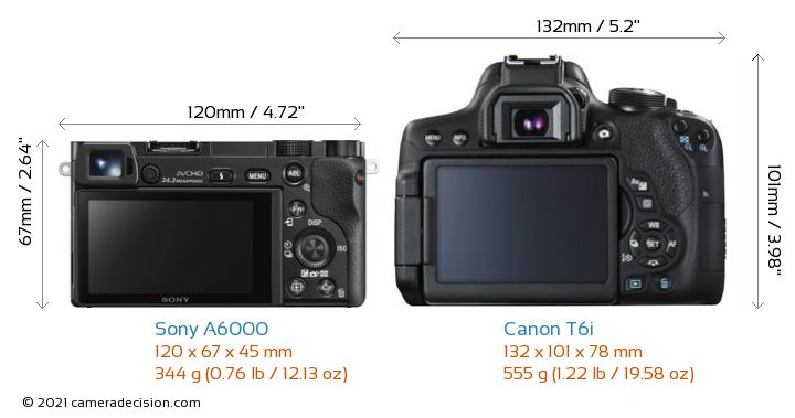 Sony A6000 vs Canon T6i Camera Size Comparison - Back View