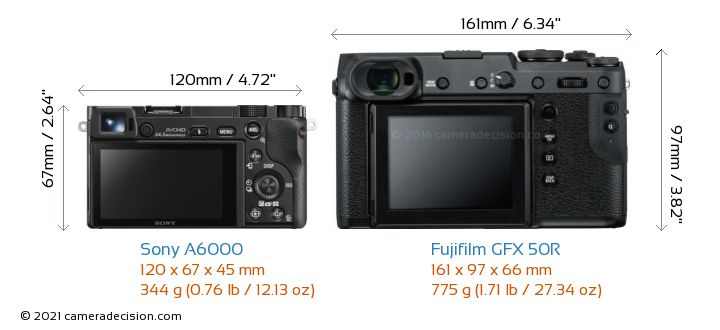 Sony A6000 vs Fujifilm GFX 50R Camera Size Comparison - Back View