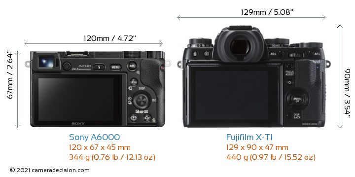 Sony A6000 vs Fujifilm X-T1 Camera Size Comparison - Back View