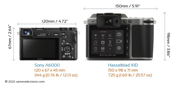 Sony A6000 vs Hasselblad X1D Camera Size Comparison - Back View