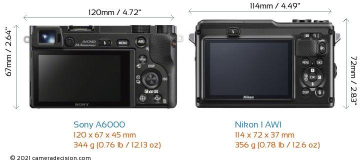 Sony A6000 vs Nikon 1 AW1 Camera Size Comparison - Back View