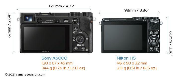Sony A6000 vs Nikon 1 J5 Camera Size Comparison - Back View