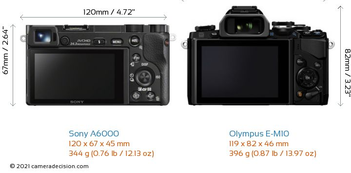 Sony A6000 vs Olympus E-M10 Camera Size Comparison - Back View
