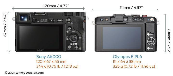 Sony A6000 vs Olympus E-PL6 Camera Size Comparison - Back View