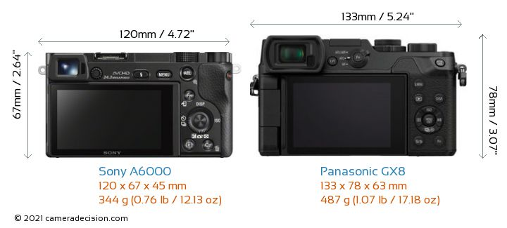 Sony A6000 vs Panasonic GX8 Camera Size Comparison - Back View