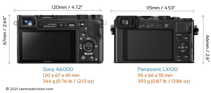 Sony A6000 vs Panasonic LX100 Camera Size Comparison - Back View