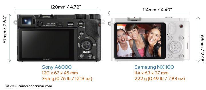 Sony A6000 vs Samsung NX1100 Camera Size Comparison - Back View