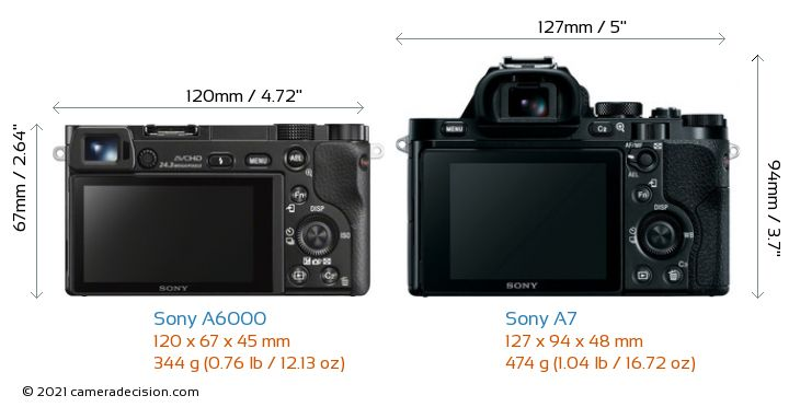 Sony A6000 vs Sony A7 Camera Size Comparison - Back View
