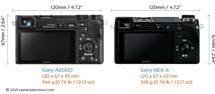 Sony A6000 vs Sony NEX-6 Camera Size Comparison - Back View
