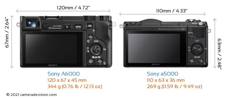 Sony A6000 vs Sony a5000 Camera Size Comparison - Back View