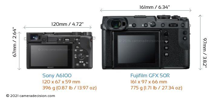 Sony A6100 vs Fujifilm GFX 50R Camera Size Comparison - Back View