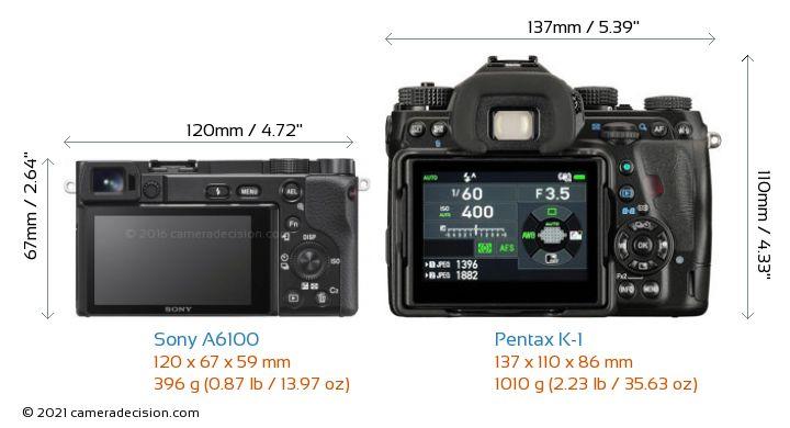 Sony A6100 vs Pentax K-1 Camera Size Comparison - Back View
