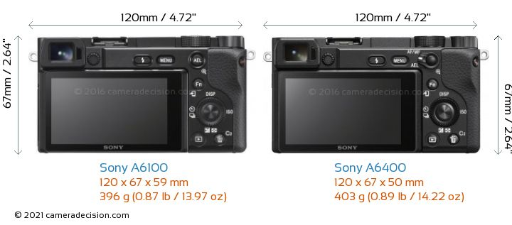 Sony A6100 vs Sony A6400 Camera Size Comparison - Back View