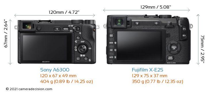 Sony A6300 vs Fujifilm X-E2S Camera Size Comparison - Back View