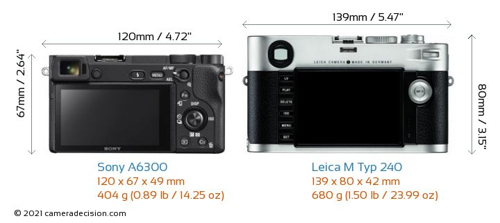Sony A6300 vs Leica M Typ 240 Camera Size Comparison - Back View