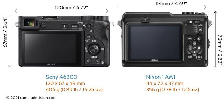 Sony A6300 vs Nikon 1 AW1 Camera Size Comparison - Back View
