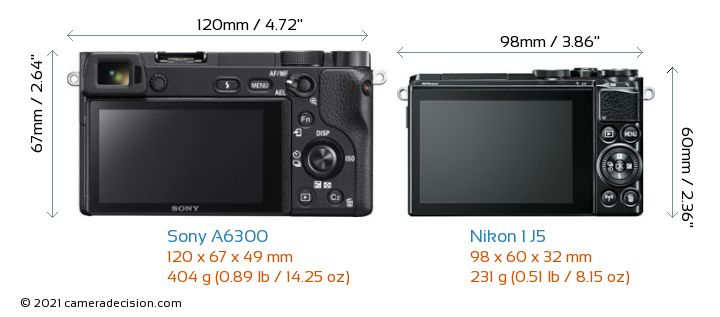 Sony A6300 vs Nikon 1 J5 Camera Size Comparison - Back View