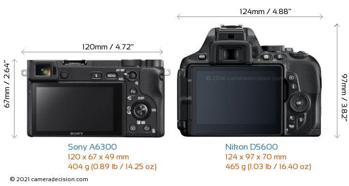 Sony A6300 vs Nikon D5600 Camera Size Comparison - Back View
