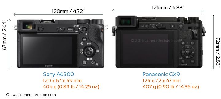 Sony A6300 vs Panasonic GX9 Camera Size Comparison - Back View