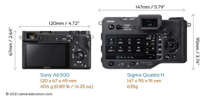 Sony A6300 vs Sigma Quattro H Camera Size Comparison - Back View