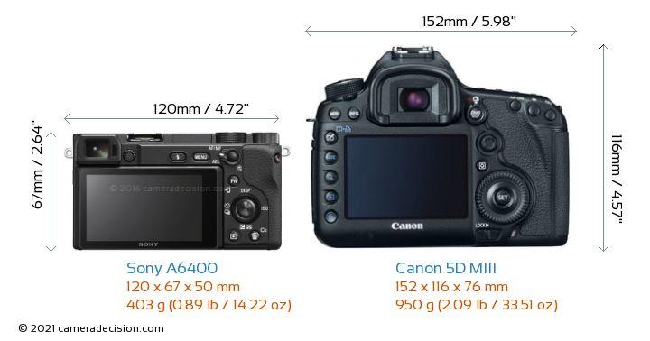 Sony A6400 vs Canon 5D MIII Camera Size Comparison - Back View