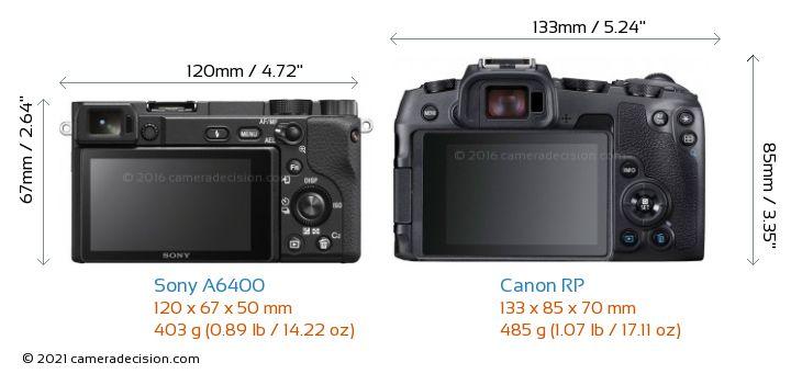 Sony A6400 vs Canon RP Camera Size Comparison - Back View