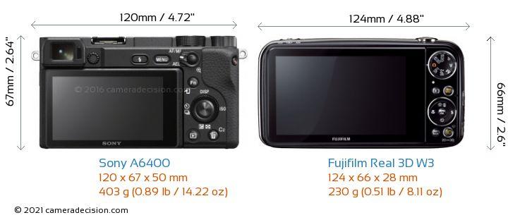 Sony A6400 vs Fujifilm Real 3D W3 Camera Size Comparison - Back View