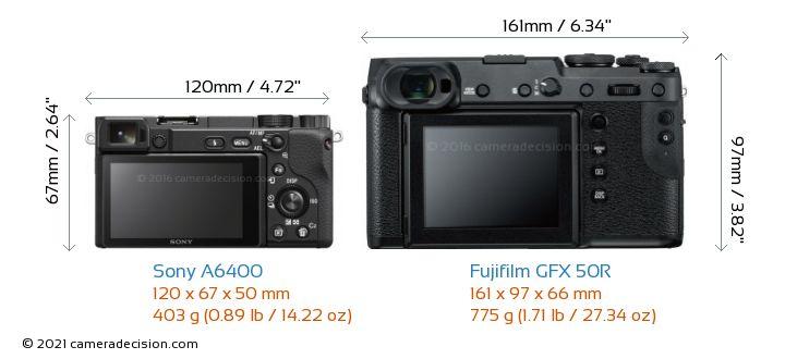 Sony A6400 vs Fujifilm GFX 50R Camera Size Comparison - Back View