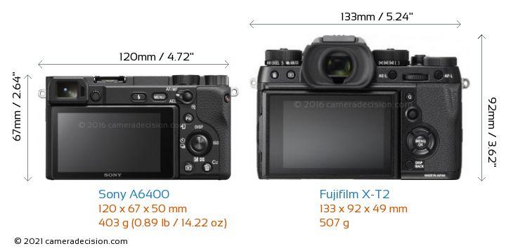 Sony A6400 vs Fujifilm X-T2 Camera Size Comparison - Back View