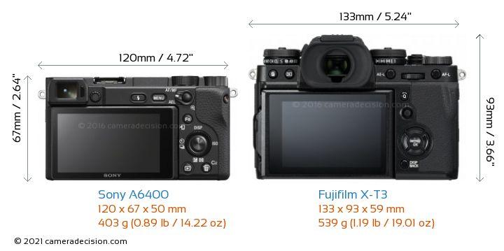 Sony A6400 vs Fujifilm X-T3 Camera Size Comparison - Back View