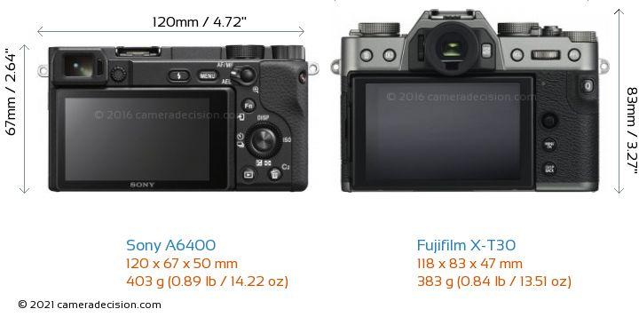 Sony A6400 vs Fujifilm X-T30 Camera Size Comparison - Back View