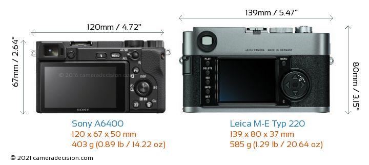 Sony A6400 vs Leica M-E Typ 220 Camera Size Comparison - Back View