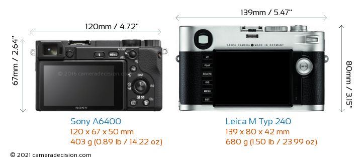 Sony A6400 vs Leica M Typ 240 Camera Size Comparison - Back View