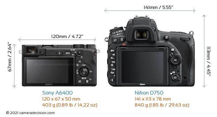 Sony A6400 vs Nikon D750 Camera Size Comparison - Back View