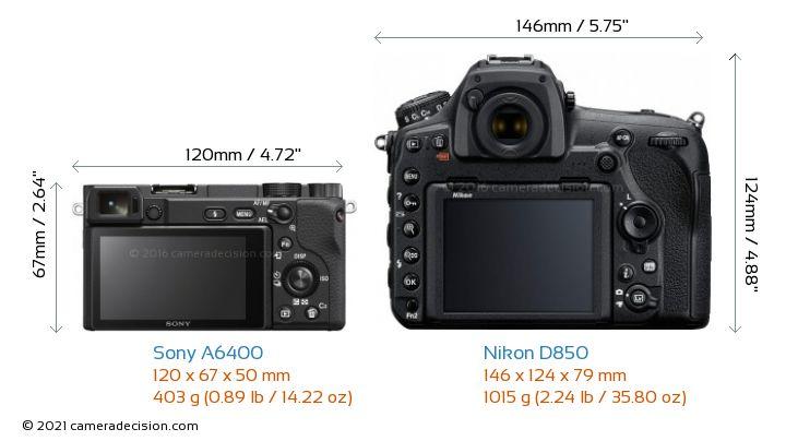 Sony A6400 vs Nikon D850 Camera Size Comparison - Back View