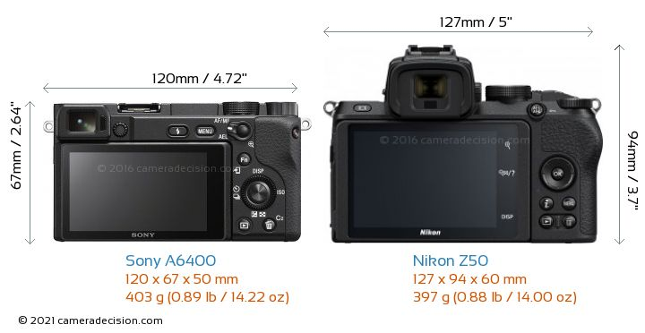 Sony A6400 vs Nikon Z50 Camera Size Comparison - Back View