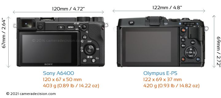 Sony A6400 vs Olympus E-P5 Camera Size Comparison - Back View
