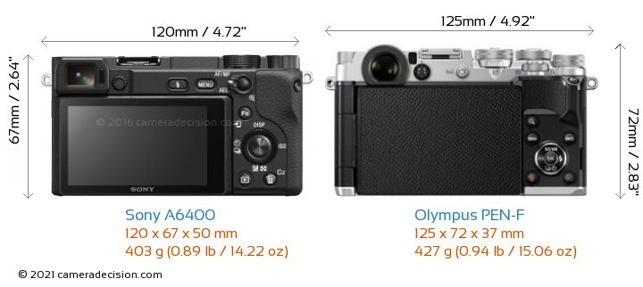 Sony A6400 vs Olympus PEN-F Camera Size Comparison - Back View