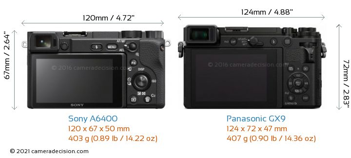 Sony A6400 vs Panasonic GX9 Camera Size Comparison - Back View