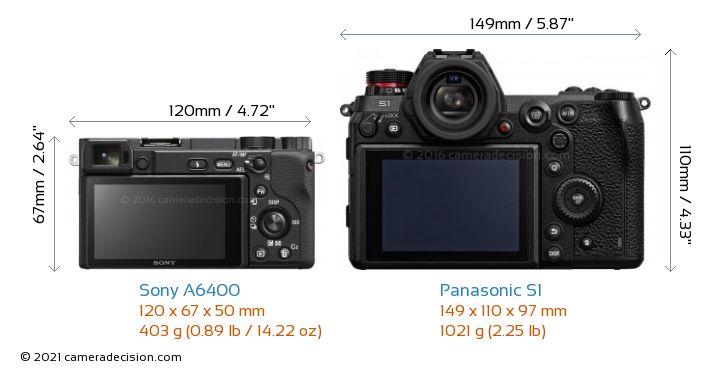 Sony A6400 vs Panasonic S1 Camera Size Comparison - Back View