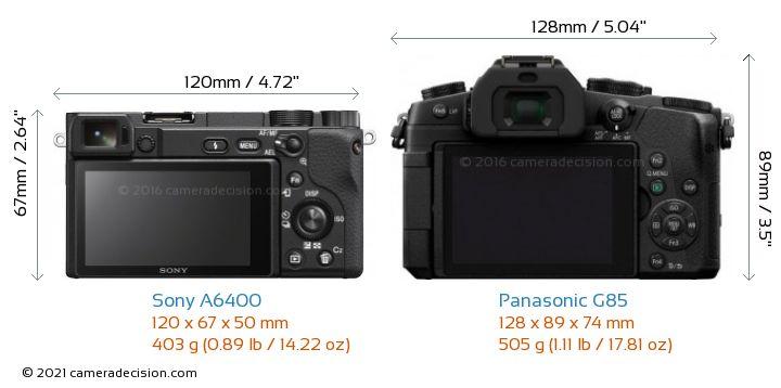 Sony A6400 vs Panasonic G85 Camera Size Comparison - Back View