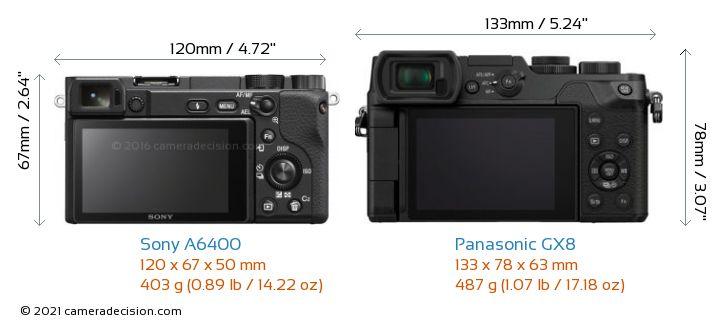 Sony A6400 vs Panasonic GX8 Camera Size Comparison - Back View
