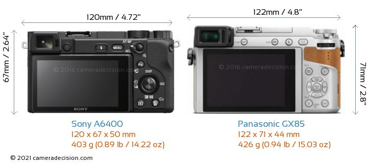 Sony A6400 vs Panasonic GX85 Camera Size Comparison - Back View