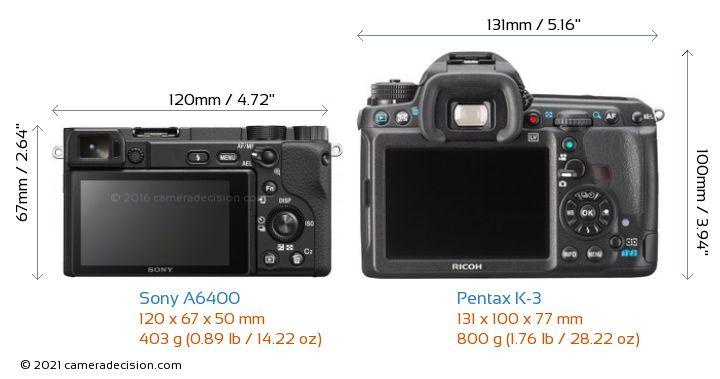 Sony A6400 vs Pentax K-3 Camera Size Comparison - Back View