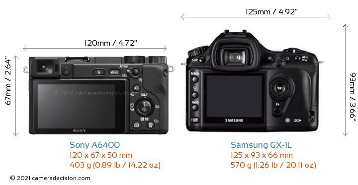 Sony A6400 vs Samsung GX-1L Camera Size Comparison - Back View