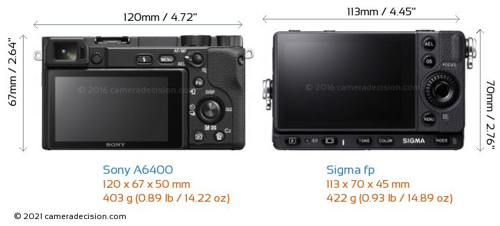 Sony A6400 vs Sigma fp Camera Size Comparison - Back View