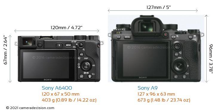 Sony A6400 vs Sony A9 Camera Size Comparison - Back View