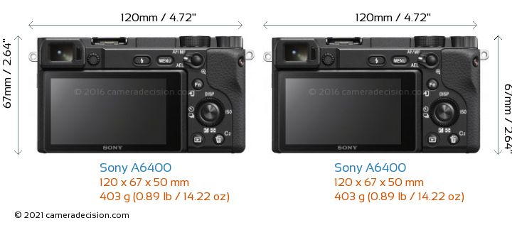 Sony A6400 vs Sony A6400 Camera Size Comparison - Back View