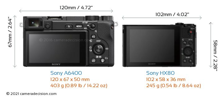 Sony A6400 vs Sony HX80 Camera Size Comparison - Back View